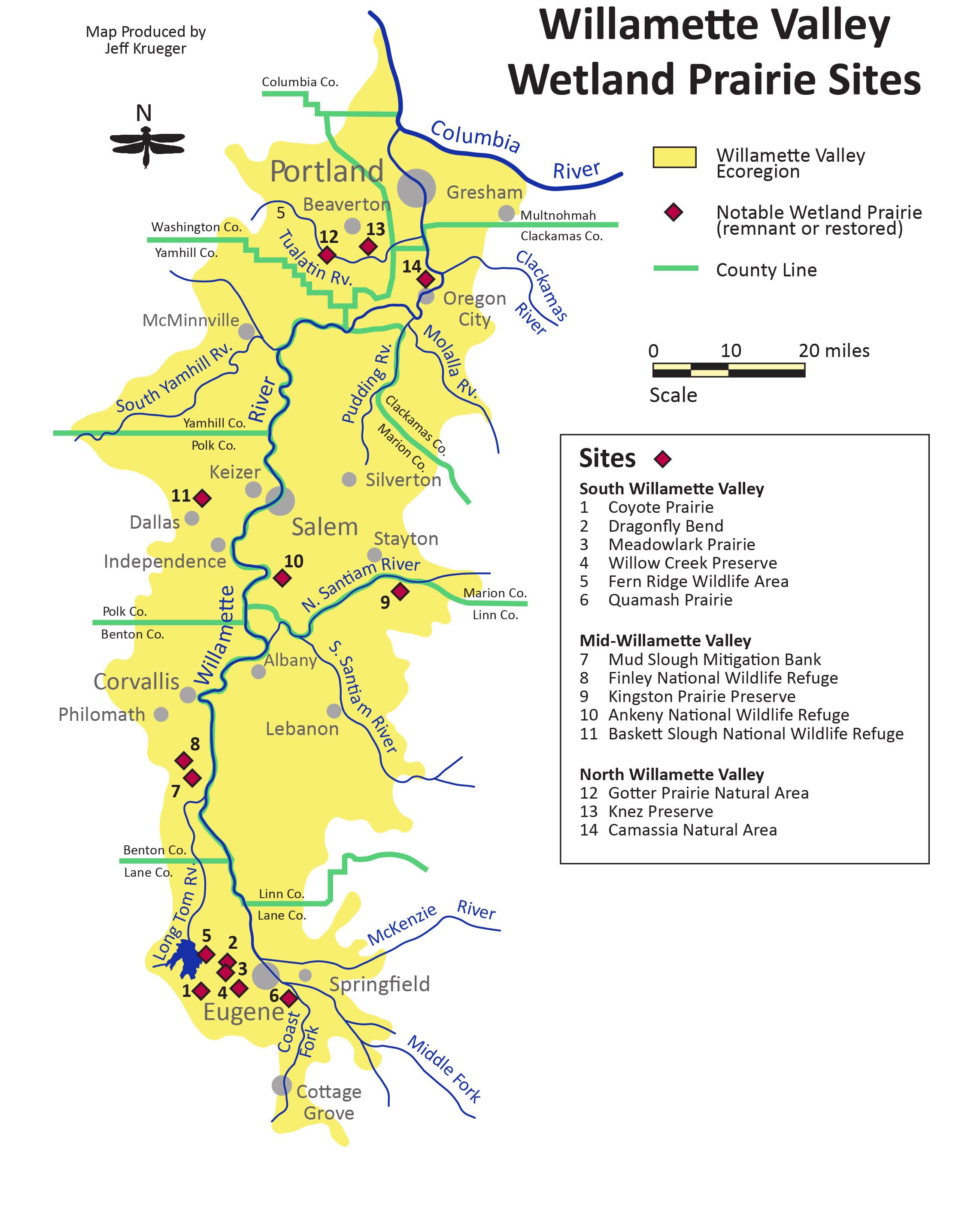 WillametteValleyWet Prairie Sites Map